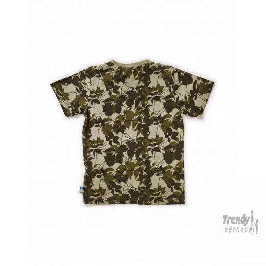 Kids-up t-shirt med blade i Army farvet og m. forlomme-3