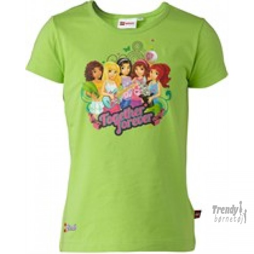 Lego friends t-shirt i grøn str 128-3