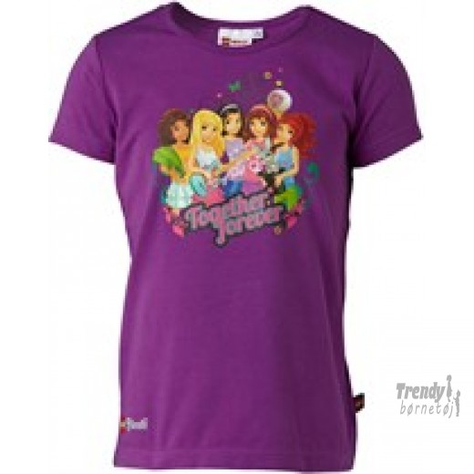 lego friends t-shirt i lilla str 122-3