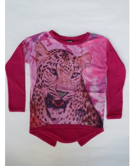 Kids-up bluse med tiger print og glas sten-20