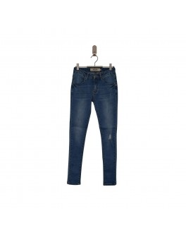 Add to bad jeans i lys demin med huller-20