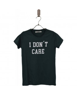 Add to bad t-shirt i grøn med i dont care-20