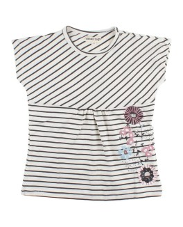 Small rags Stribet t-shirt med blomster-20