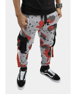 "FIRSTGRADE ""BEYOND CAMO"" SWEAT PANTS GRAY/RED/BLACK-20"