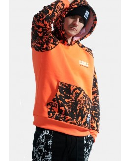 Firstgrade hoodie i orange med print på armed og lommer-20