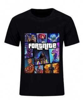 Fortnite t-shirt i sort med heltene-20