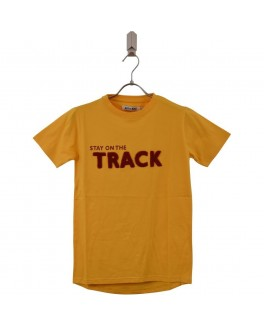 Addtobad t-shirt i gul med stay on the track-20