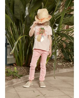 Kids-up t-shirt i fersken farvet med en ananas-20