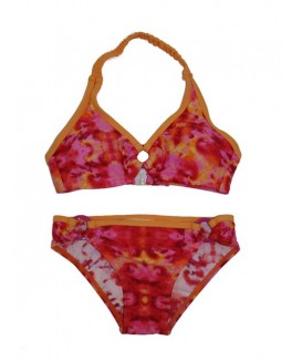 Next level bade bikini med pink mønstret og orange kanter-20