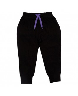 kids-up joggning bukser i sort med lilla snor item 7203836-20