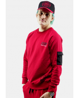 "FIRSTGRADE ""RIVAL"" CREW NECK RØD/SORT-20"