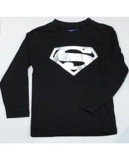 Superman l/æ t-shirt i sort med sølv print-20