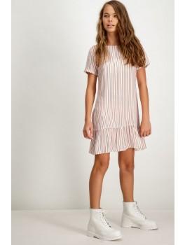 Garcia sommer kjole i støvet rosa og hvider striber