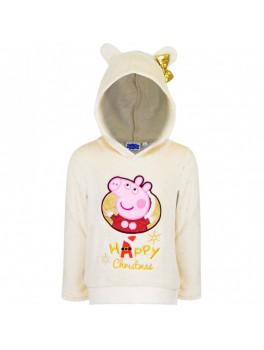 Gurli gris jule fleece bluse i hvid med hætte og guld sløjfe
