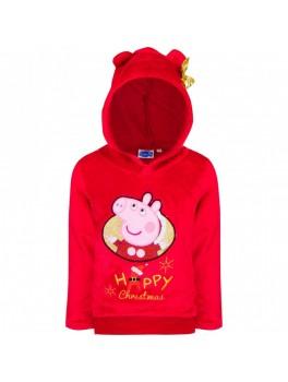Gurli gris jule fleece bluse i rød med hætte og guld sløjfe