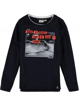 Garcia l/æ t-shirt i sort med print på maven